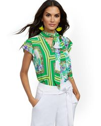 New York & Company Petite Mixed-print Tulip-sleeve Blouse - 7th Avenue - Green
