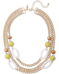 New York & Company 3-row Goldtone Beaded Link Necklace - Metallic