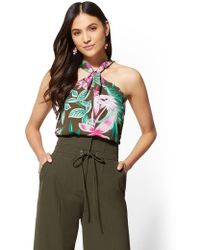 New York & Company - 7th Avenue - Floral Twist-detail Halter Blouse - Lyst