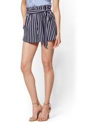 New York & Company - 7th Avenue - Striped Paperbag-waist 4 Inch Short - Lyst