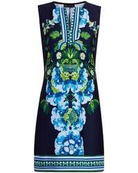 New York & Company Split-neck Cotton Shift Dress - Blue