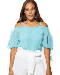 New York & Company Clip-dot Cold-shoulder Blouse - 7th Avenue - Blue