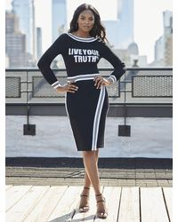 "New York & Company Black & White ""live Your Truth"" Sweater - Gabrielle Union Collection"