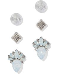 New York & Company - 3-piece Silvertone Post Earring Set - Lyst