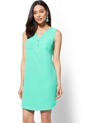 New York & Company - Turquoise Split-neck Shift Dress - Lyst
