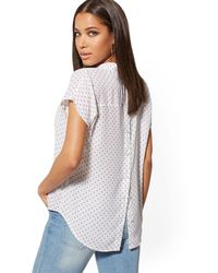 New York & Company Dot-print Button-back Blouse - Soho Soft Blouse - White