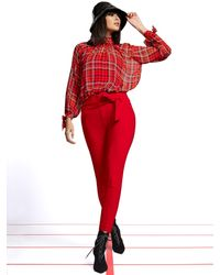 New York & Company Petite Plaid Mock-neck Tie-sleeve Blouse - 7th Avenue - Red