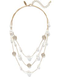 New York & Company Pearl & Crystal Layered Necklace - Metallic