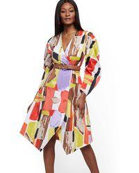 New York & Company Dramatic Wrap Dress - Multicolor