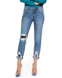 New York & Company Mid-rise Plaid Rip & Repair Curvy Boyfriend Jeans - Blue