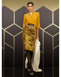New York & Company High-waisted Gold Sequin-front Skirt - Metallic