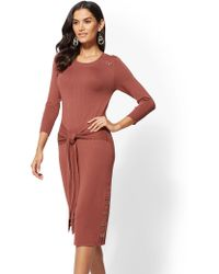 New York & Company - Tall Button-accent Tie-front Sweater Dress - Lyst