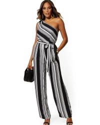 New York & Company - Stripe One-shoulder Jumpsuit - Lyst