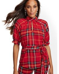 639dddcca6ac3b Lyst - New York & Company 7th Avenue - Bell-sleeve V-neck Blouse in ...