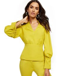 New York & Company Chartreuse Drawstring-tie Blouse - 7th Avenue - Yellow