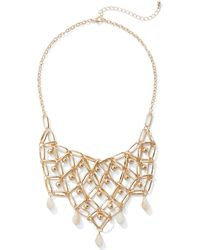 New York & Company - Goldtone Beaded Statement Necklace - Lyst