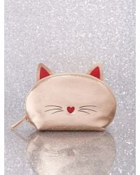 New York & Company Rose Goldtone Cat Cosmetic Bag - Pink