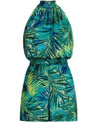 New York & Company Tropical-print Halter Romper - Green