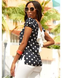 New York & Company Dot-print Puff-sleeve Bow-back Blouse - Sweet Pea - Black
