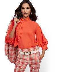 New York & Company Petite Button-accent Tie-front Blouse - 7th Avenue - Multicolor
