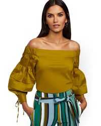 New York & Company Tall Chartreuse Off-the-shoulder Shirt - 7th Avenue - Green