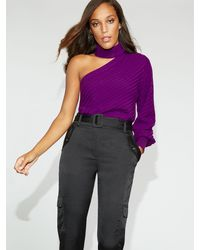 New York & Company Purple One-shoulder Sweater - Gabrielle Union Collection