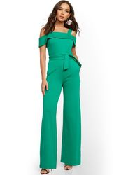 New York & Company Cold-shoulder Jumpsuit - Green