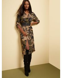 New York & Company Camo-print Cargo Shirtdress - Green