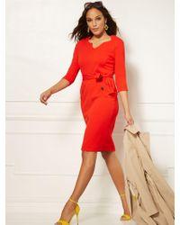 5ba6a274e477 New York & Company - Split-neck Scuba Crepe Sheath Dress - Magic Crepe -
