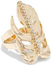 New York & Company - Goldtone Palm Leaf Ring - Lyst