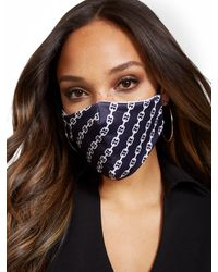 New York & Company Chain Print Face Mask - Black