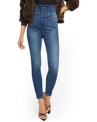 New York & Company Super High-waisted Corset Super-skinny Jeans - Brilliant Blue