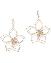 New York & Company - Sparkling Goldtone Floral Drop Earring - Lyst