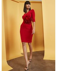 New York & Company V-neck Belted Sweater Sheath Dress - Red