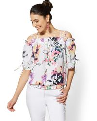 3198158d3cd4d New York   Company - 7th Avenue - Floral Off-the-shoulder Blouse -