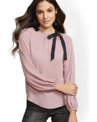 8686ce420a001 Lyst - New York   Company 7th Avenue - Cutout-detail Bow Blouse in Pink