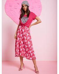 New York & Company Heart Doodles Midi Skirt - Pink