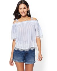 528292923c06d3 Lyst - New York & Company 7th Avenue - Lace Off-the-shoulder Bell ...