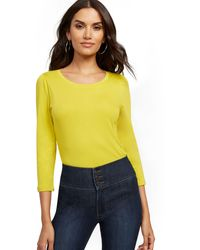 New York & Company Chartreuse Puff-sleeve Top - Yellow