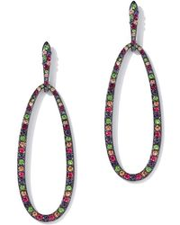 New York & Company - Multicolor Pave Oval Drop Earring - Lyst