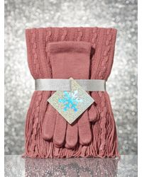 New York & Company - 2-piece Cable-knit Scarf & Glove Gift Set - Lyst