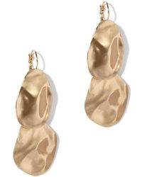 New York & Company - Textured Goldtone Drop Earring - Lyst