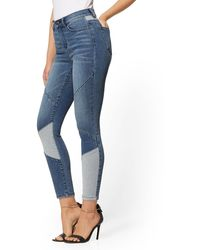 New York & Company High-waisted Super-skinny Ankle Jeans - Patchwork - Blue