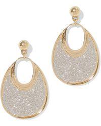 New York & Company Glitter Oval Drop Earring - Metallic