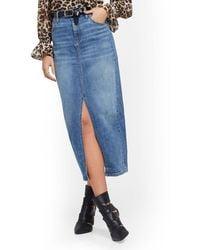 New York & Company High-waist Front-slit Denim Skirt - Blue