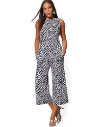 New York & Company - Zebra-print Cotton Tie-back Culotte Jumpsuit - Lyst