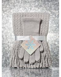 New York & Company - 2-piece Metallic Cable-knit Scarf & Glove Gift Set - Lyst