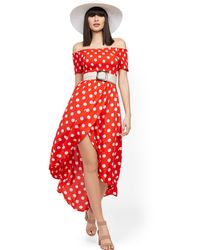 New York & Company Dot-print Off-the-shoulder Hi-lo Wrap Maxi Dress - Red