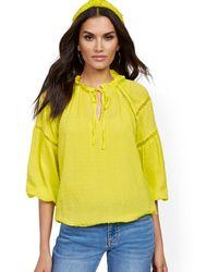 New York & Company Crochet-trim Tie-front Peasant Blouse - Yellow