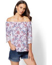 30882cacb7d5e Lyst - Breathless Off-the-shoulder Crochet Lace Trim Floral Print ...